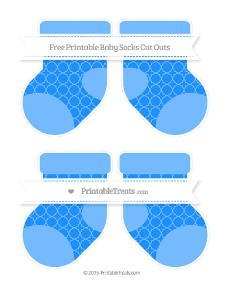 Free Dodger Blue Quatrefoil Pattern Medium Baby Socks Cut Outs