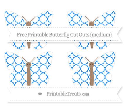 Free Dodger Blue Quatrefoil Pattern Medium Butterfly Cut Outs