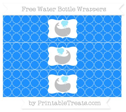 Free Dodger Blue Quatrefoil Pattern Whale Water Bottle Wrappers
