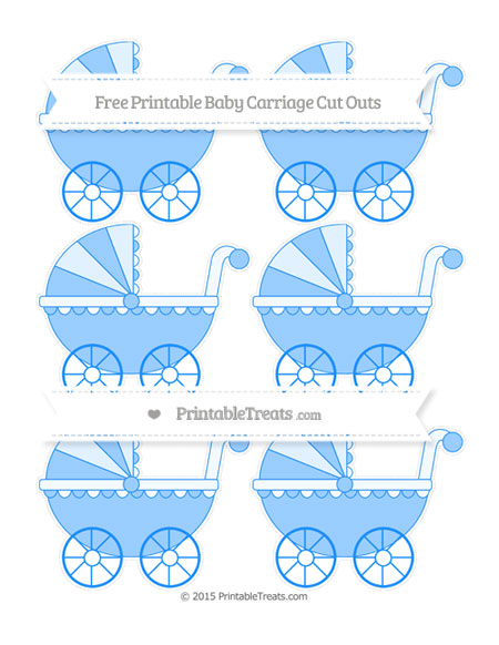 Free Dodger Blue Small Baby Carriage Cut Outs