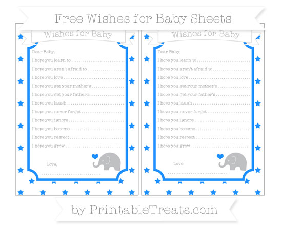 Free Dodger Blue Star Pattern Baby Elephant Wishes for Baby Sheets