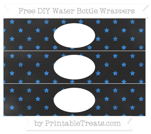 Free Dodger Blue Star Pattern Chalk Style DIY Water Bottle Wrappers