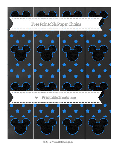 Free Dodger Blue Star Pattern Chalk Style Mickey Mouse Paper Chains