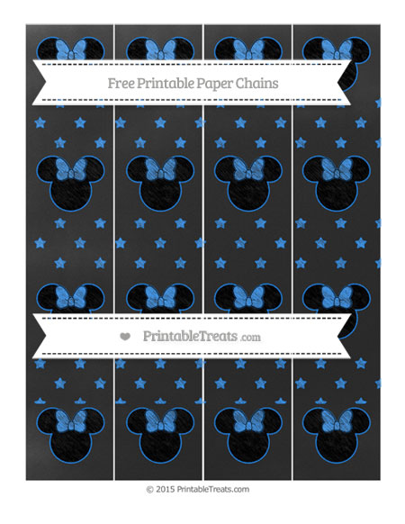 Free Dodger Blue Star Pattern Chalk Style Minnie Mouse Paper Chains