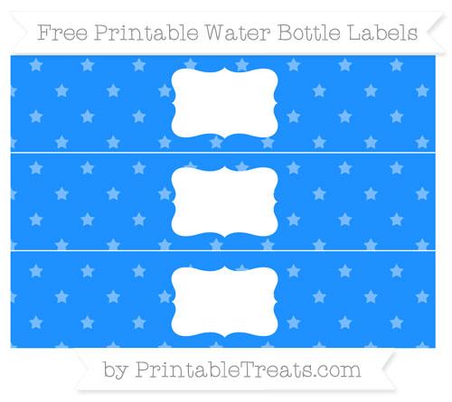 Free Dodger Blue Star Pattern Water Bottle Labels