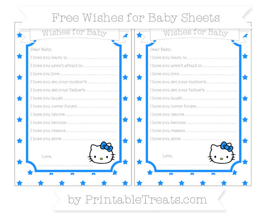 Free Dodger Blue Star Pattern Hello Kitty Wishes for Baby Sheets