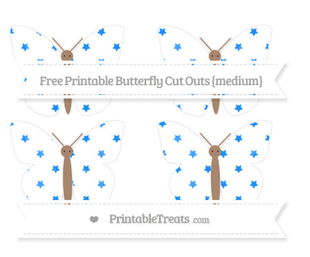 Free Dodger Blue Star Pattern Medium Butterfly Cut Outs