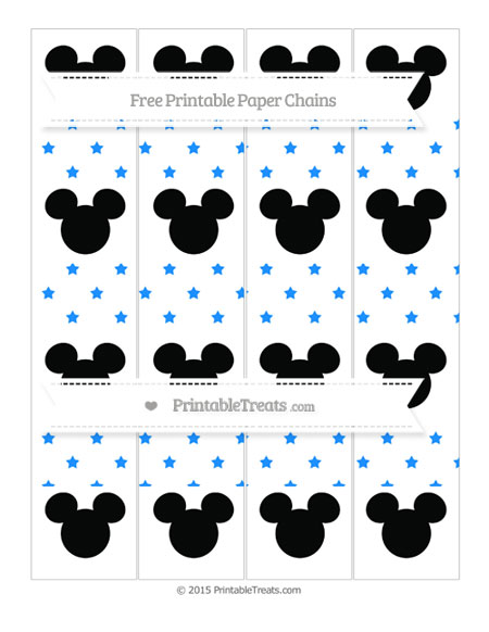 Free Dodger Blue Star Pattern Mickey Mouse Paper Chains
