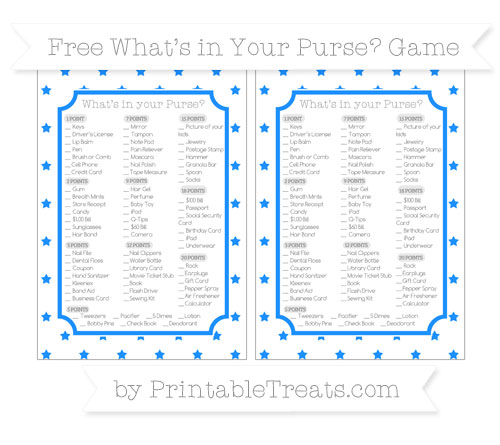 Free Dodger Blue Star Pattern What's in Your Purse Baby Shower Game