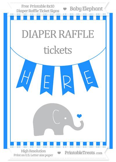 Free Dodger Blue Striped Baby Elephant 8x10 Diaper Raffle Ticket Sign