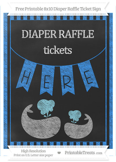 Free Dodger Blue Striped Chalk Style Baby Whale 8x10 Diaper Raffle Ticket Sign