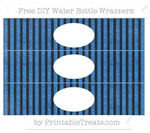 Free Dodger Blue Striped Chalk Style DIY Water Bottle Wrappers