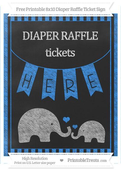 Free Dodger Blue Striped Chalk Style Elephant 8x10 Diaper Raffle Ticket Sign