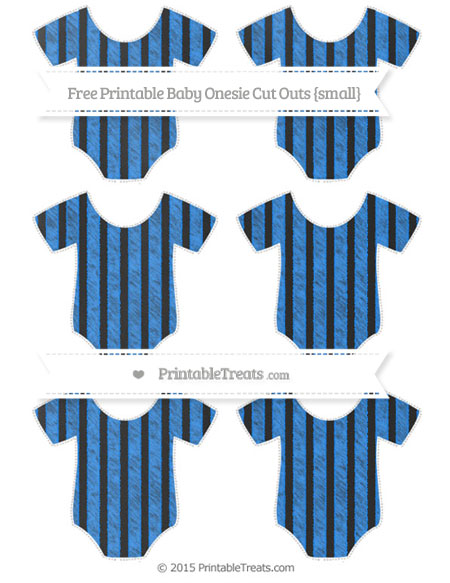 Free Dodger Blue Striped Chalk Style Small Baby Onesie Cut Outs
