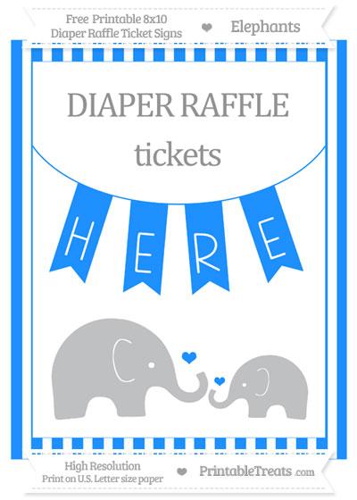 Free Dodger Blue Striped Elephant 8x10 Diaper Raffle Ticket Sign