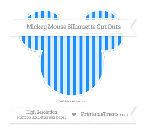 Free Dodger Blue Striped Extra Large Mickey Mouse Silhouette Cut Outs