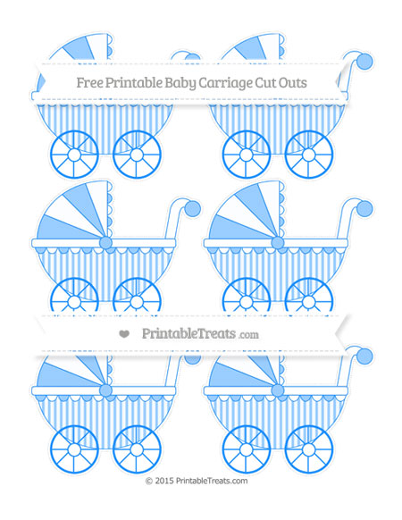 Free Dodger Blue Striped Small Baby Carriage Cut Outs