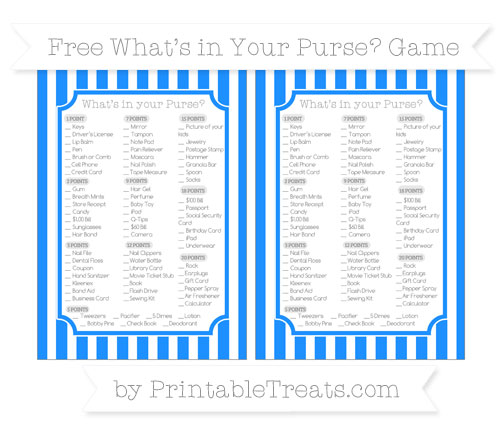 Free Dodger Blue Striped What's in Your Purse Baby Shower Game