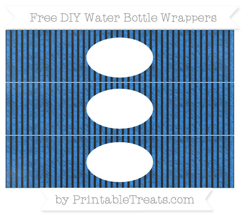 Free Dodger Blue Thin Striped Pattern Chalk Style DIY Water Bottle Wrappers