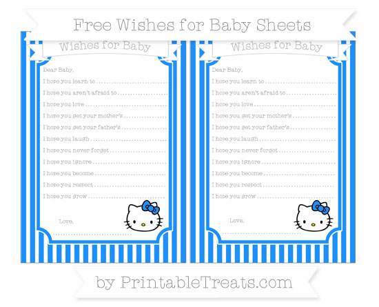 Free Dodger Blue Thin Striped Pattern Hello Kitty Wishes for Baby Sheets