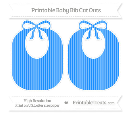 Free Dodger Blue Thin Striped Pattern Large Baby Bib Cut Outs