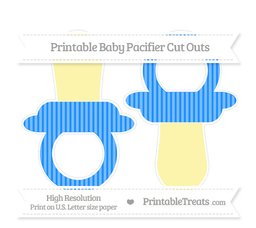 Free Dodger Blue Thin Striped Pattern Large Baby Pacifier Cut Outs