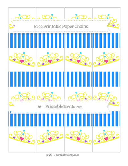 Free Dodger Blue Thin Striped Pattern Princess Tiara Paper Chains