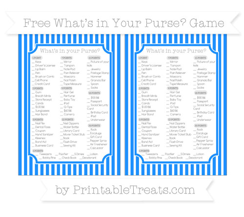 Free Dodger Blue Thin Striped Pattern What's in Your Purse Baby Shower Game