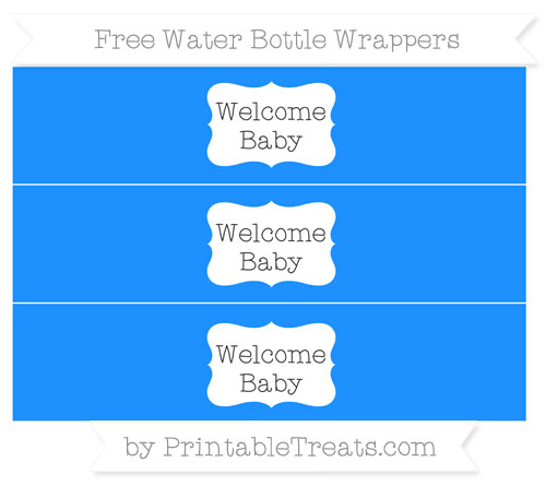 Free Dodger Blue Welcome Baby Water Bottle Wrappers