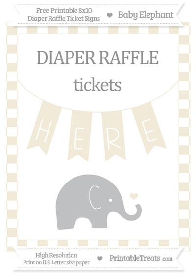 Free Eggshell Checker Pattern Baby Elephant 8x10 Diaper Raffle Ticket Sign