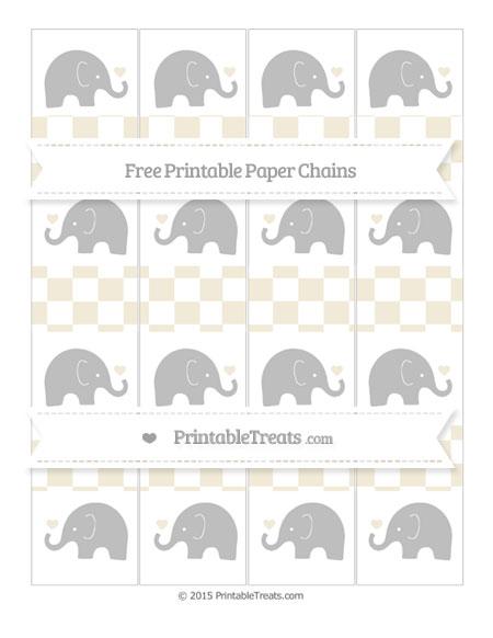 Free Eggshell Checker Pattern Baby Elephant Paper Chains