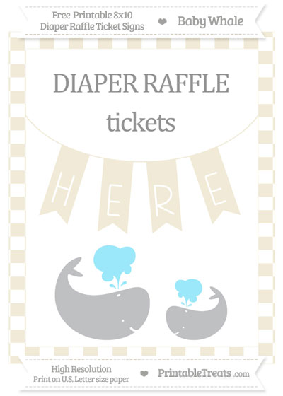Free Eggshell Checker Pattern Baby Whale 8x10 Diaper Raffle Ticket Sign