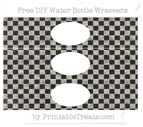 Free Eggshell Checker Pattern Chalk Style DIY Water Bottle Wrappers