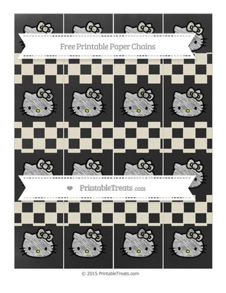 Free Eggshell Checker Pattern Chalk Style Hello Kitty Paper Chains