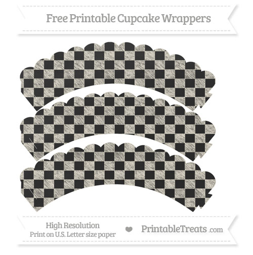 Free Eggshell Checker Pattern Chalk Style Scalloped Cupcake Wrappers