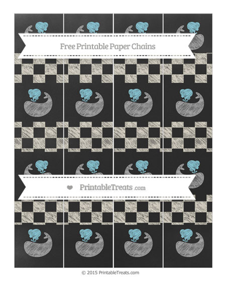 Free Eggshell Checker Pattern Chalk Style Whale Paper Chains