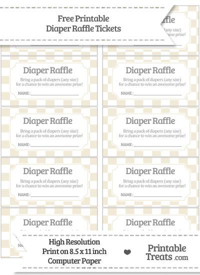 Free Eggshell Checker Pattern Diaper Raffle Tickets