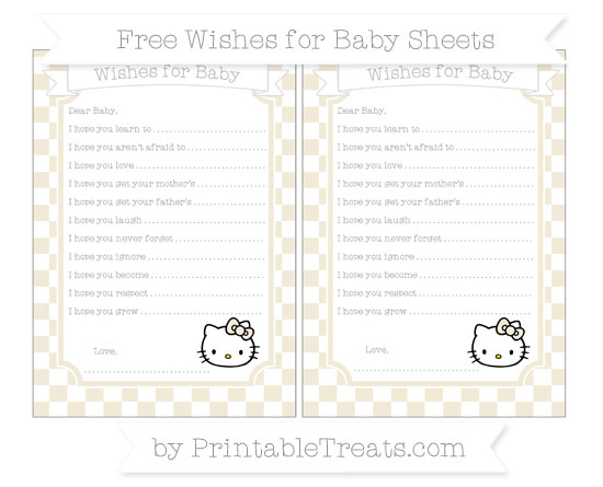 Free Eggshell Checker Pattern Hello Kitty Wishes for Baby Sheets