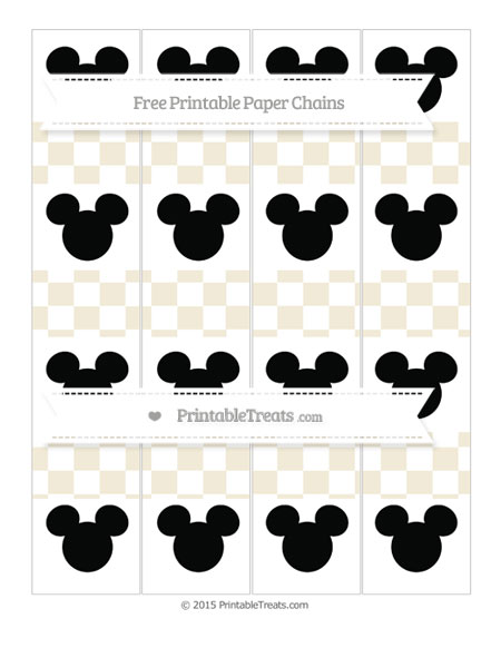 Free Eggshell Checker Pattern Mickey Mouse Paper Chains
