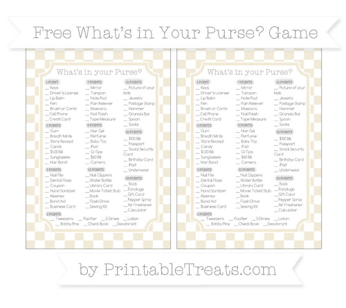 Free Eggshell Checker Pattern What's in Your Purse Baby Shower Game