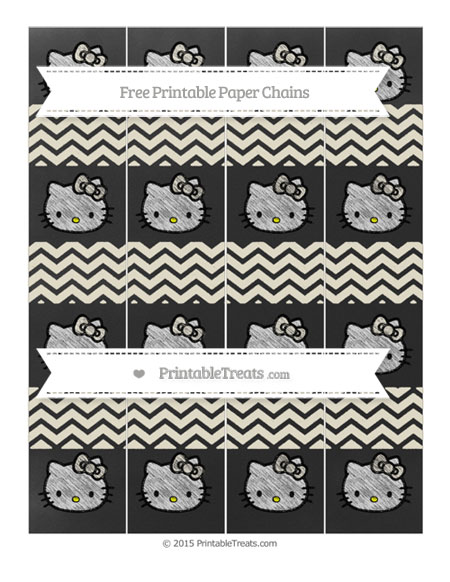 Free Eggshell Chevron Chalk Style Hello Kitty Paper Chains