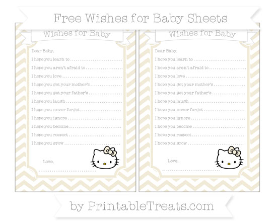 Free Eggshell Chevron Hello Kitty Wishes for Baby Sheets