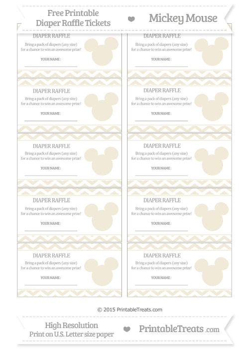 Free Eggshell Chevron Mickey Mouse Theme Diaper Raffle Tickets