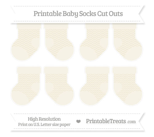 Free Eggshell Chevron Small Baby Socks Cut Outs