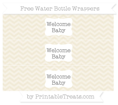 Free Eggshell Chevron Welcome Baby Water Bottle Wrappers