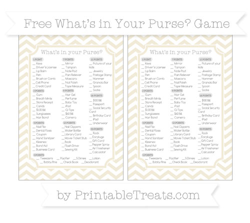 Free Eggshell Chevron What's in Your Purse Baby Shower Game