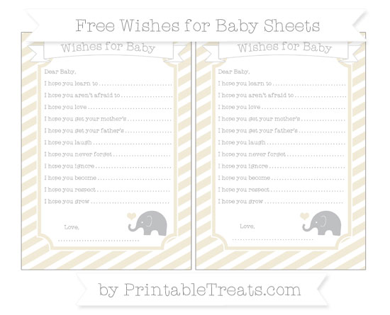 Free Eggshell Diagonal Striped Baby Elephant Wishes for Baby Sheets