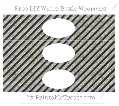 Free Eggshell Diagonal Striped Chalk Style DIY Water Bottle Wrappers