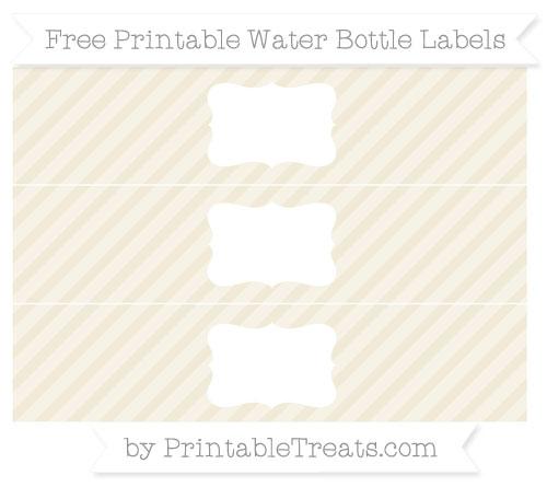 Free Eggshell Diagonal Striped Water Bottle Labels