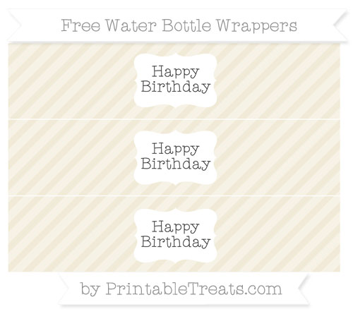 Free Eggshell Diagonal Striped Happy Birhtday Water Bottle Wrappers